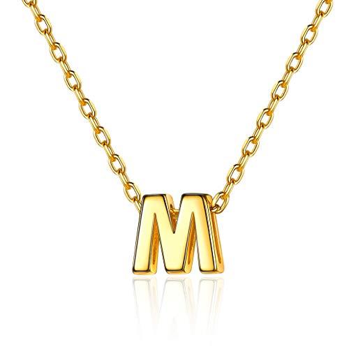 Silvora Collar Letra Oro Color Mujer M Plata y Oro bañado Colgantes Iniciales