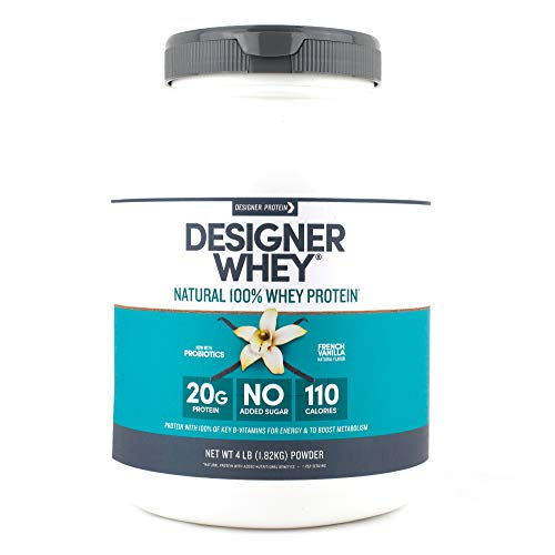 Designer Whey Natural Protein Powder, French Vanilla, 4 Lb, Non GMO, No Artificial Flavors, Sweeteners, Colors, or Preservatives, Made in USA