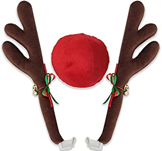 Motorup America Auto Reindeer Antler and Nose Kit for Cars for Vehicle Window and Grille - Christmas Holiday Decoration