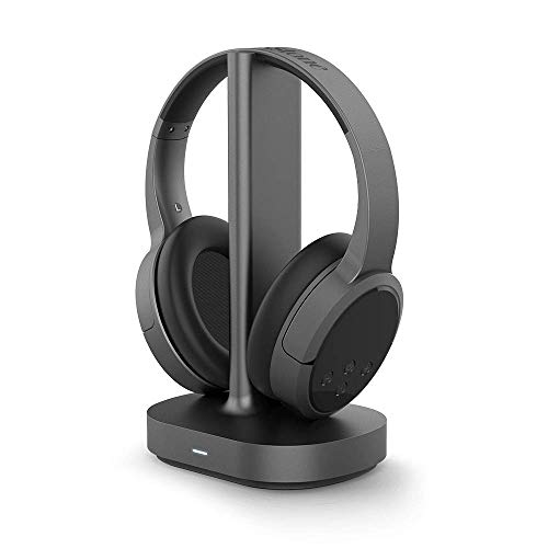 Brookstone AirPhones Wireless RF Over Ear Headphones with Wireless-Transmitting Charging Dock, 10 Hrs Playtime, Deep Bass 40mm Driver, Bluetooth, Comfortable Ear-Pads, for TVs, Phones, Black