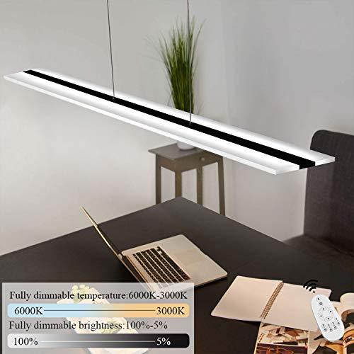 ZMH LED Pendelleuchte Büro 32W Dimmbar mit Fernbedienung Pendellampe esstisch höhenverstellbar Hängeleuchte aus Acryl Panelleuchte für Hängelampe esstisch, Arbeitszimmer, Wohnzimmer