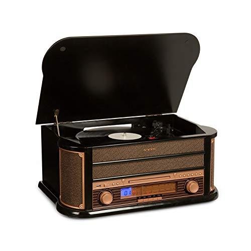 auna Belle Epoque 1908 - Retroanlage, Stereoanlage, Plattenspieler, Riemenantrieb, Stereo-Lautsprecher, Radio-Tuner, Frequenzbandanzeige, UKW, MW, USB, CD-Player, Kassettendeck, schwarz