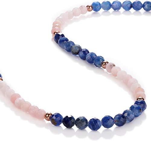 Halskette mit rosafarbenem Opal Kyanit mit runden Perlen, Kyanit Opal, facettiert, Blauer Kyanit Opal Schmuck, Geschenk für Freundin