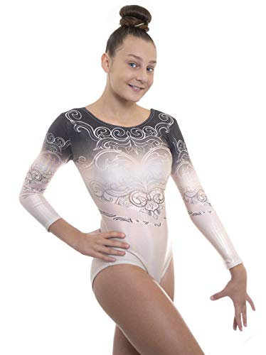 Velocity Dancewear Deluxe Elegant Long Sleeve Gymnastics Leotards for Girls (Elegant - Black n Gold, 9-10 Years, 30