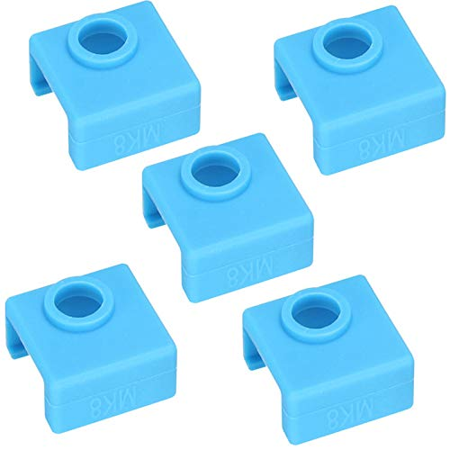 3D Printer Heater Block Silicone Cover MK7 MK8 MK9 Hotend High-temperature Resistant MK8 Silicone Cover for Ender 3 Creality CR-10 10S S4 S5 ANET A8, Pack of 5 (Blue)