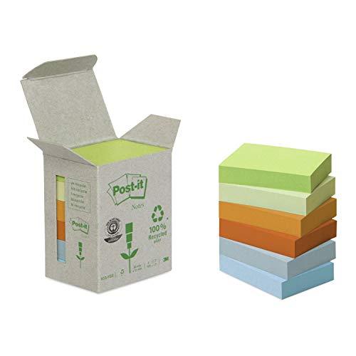 Post-It 653-1GB Foglietti Adesivi, Box da 6 Blocchetti, Carta Riciclata al 100%, 51 mm x 38 mm, Multicolore