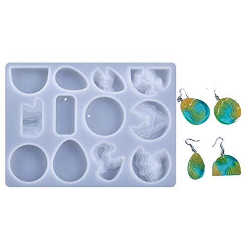 Conjunto de moldes de joyería para Pendientes de Resina epoxi Moldes de Silicona de fundición de Resina de joyería de Pendiente Gran Regalo para los Amantes de la artesanía en Resina.