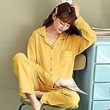 Fuduoduo Conjuntos de Pijamas para Hombre Mangas Cortas,Pijamas de algodón para Damas y Trajes de Servicio a Domicilio-Turmeric_XXL #,Pijamas Botones Casual