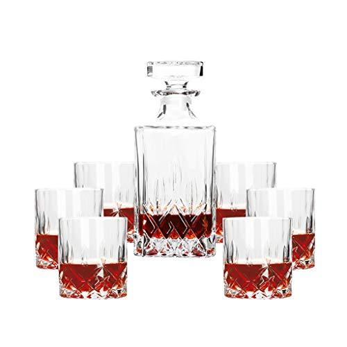 Set de Verres à Whisky Avec Carafe à Décanter Et Bouchon - Verre en Cristal - Carafe de 0.8 L - Verre de 200 ML