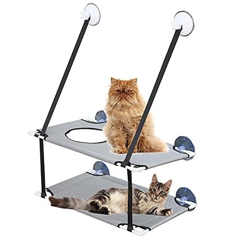 MC-Space Katzen Fensterplätze für Katzenbett Pet Sonnenbad Fenster Hängematte für Haustier bis zu 15kg Katzen sicher-leicht zu reinigen