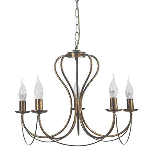 lampadario ferro ONLI Lampadario 5 luci in Metallo Marrone spennellato Oro