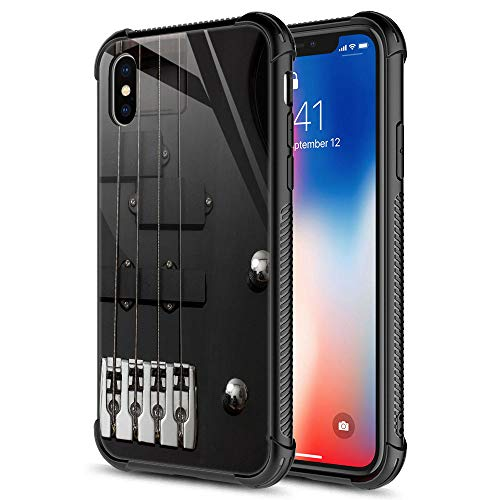 iPhone XR Case,Guitar Bass Guitar Strings iPhone XR Cases,9H Tempered Glass Graphic Design Shockproof Anti-Scratch Tempered Glass Case for Apple iPhone XR