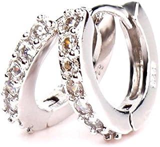 Niome Single Row Diamond Earrings Hoop Earrings Ear Jewelry Delicate Shiny