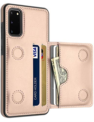 LakiBeibi Galaxy S20 Case with Card Holders, Dual Layer Ultra Slim PU Leather Galaxy S20 Wallet Case Folio Flip Magnetic Snaps Drop Protection Case for Samsung Galaxy S20 5G 6.2 Inch (2020), Rose Gold