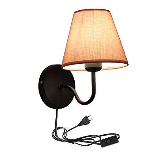 Preisvergleich Produktbild Wandleuchte rustikal / Braun & Beige / 1x E27 bis zu 60 Watt 230V / 1.8 Meter Kabel mit Fassung, Schalter+Stecker / Metall / Wandleuchte Wohnzimmer Wandlampe innen