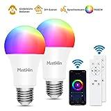 Smart Lampe MustWin 2er Wlan Lampe 9W Alexa Glühbirne 900LM E27 RGB +Warmweiß +Kaltweiß mit 3 Kontrollweise von APP &Sprachsteuerung &IR-Fernbedienung, Kompatibel mit Alexa Google Home zu Party Deco