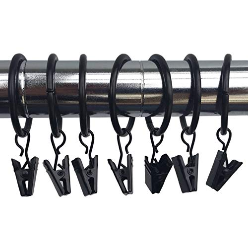 Marwotec Verbindungselemente 10 STK. 25mm Durchmesser Mehrzweck Vorhang Clip Schwarz Gardinenstange Gardinenringe Vorhangringe mit Clips
