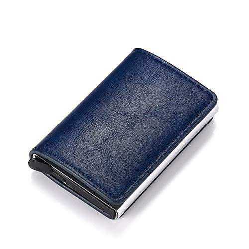 Aluminum Metal Credit Business Mini Card Wallet Man Women Smart Wallet Business Card Holder Rfid Wallet-K9109 Blue