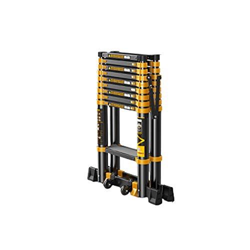 GYL Teleskopleiter Schwarz Ausziehbare Leiter, Aluminium Zusammenklappbarer Leiter Multi-Purpose mit Wide Pedale Tragbarer Verlängerungsleitern zum Ingenieur (Size : Style1)
