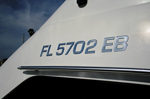 Boat & Jetski Registration Numbers - Domed/Raised Decal (16 Pcs) Plain Chrome/SURF Series Font Style