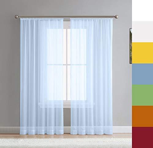 Voile Gardine nach Maß, Halbtransparent, Kräuselband, Vorhang nach Maß, Store Webstore (Blau, 135x145cm /HxB)