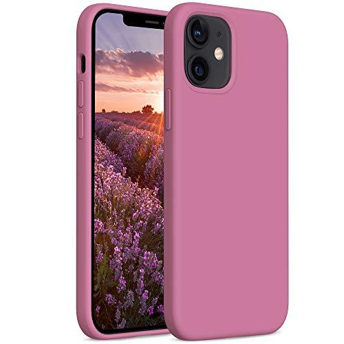 YATWIN Compatibile con Cover iPhone 12 Mini 5,4'', Custodia per iPhone 12 Mini Silicone Liquido, Protezione Completa del Corpo con Fodera in Microfibra, Ribes Nero