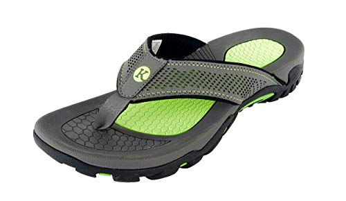 Kaiback - Drifter Sport Flip Flops | Comfortable Durable Rubber and Heavy-Duty Tread - Grey & Green (10 US)