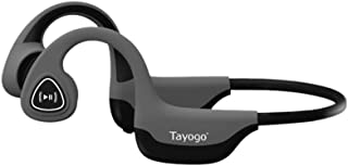 Tayogo Bone Conduction Headphones with Microphone Bluetooth 5.0 Open Ear Wireless Earphones for Running, Sports, Fitness - Grey