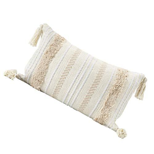VORCOOL Funda para cojín lumbar decorativa, bohemia, de tejido tupido, estilo vintage, con borlas, para sofá, cama, dormitorio, coche, 30 x 50 cm