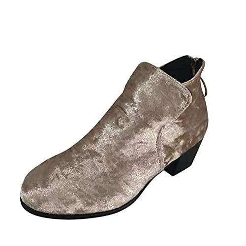 Aohfuehdk Women's Combat Boots Zipper Lace up Ankle Booties Plus Size Short Boots PU-Suede Low-Top Boots Khaki
