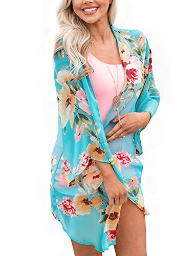 Floral Chiffon Kimono Open Cover Ups for Swimwear Women Boho Style Sheer Jackets for Women Shawls Street Wear Resort Wear (Aqua Blue Large)