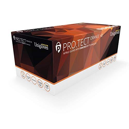 UNIGLOVES GA0054 Pro-Tect - Guantes de nitrilo (tamaño grande, 100 unidades), color naranja