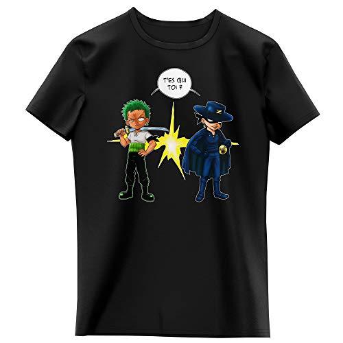 T-Shirt Enfant Fille Noir Parodie One Piece - Zorro Roronoa - d'un Z Qui Veut dire. (T-Shirt Enfant de qualité Premium de Taille 13-14 Ans - imprimé en France)