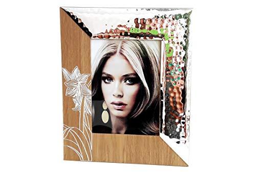 Cvc srl Fotorahmen aus Holz mit Laser rechteckig 24 x 29 cm mit Glas und Verzierung Lilie Weiß, Platte aus bilaminiertem Silber 925 - Gastgeschenk für Zuhause, Büro, Arbeit