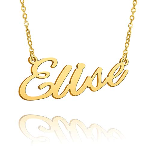 BUREI Collar con Nombre Grande Inicial Chapado en Oro joyería de Mejor Amiga Regalo de Mujer para Ella Elise