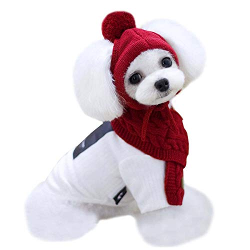 Van Caro Knitted Doggie Scarf and Hat Set Puppy Dogs Cats Lovely Fall Winter Outfits (Red)