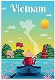 GYJDD Laminas para Cuadros Poster de Paisaje de Turismo Vintage Poster de Puerto de Vietnam Decoracion Pintura Lienzo Arte de Pared Poster decoración40x60cm x1 Sin Marco