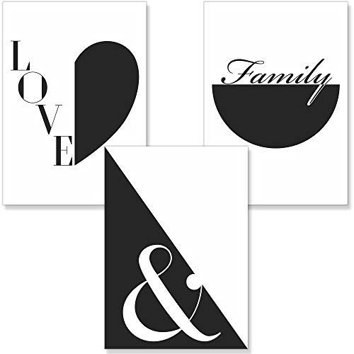 PREMYO Cuadros Decoración Salón Dormitorios - Láminas Decorativas Pared para Enmarcar - 3 Póster Blanco y Negro Love A4