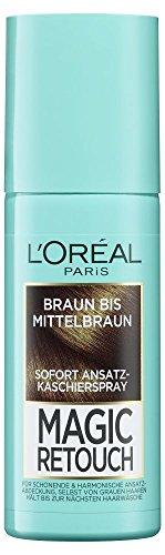 L'Oréal Paris Ansatz-Kaschierspray ohne Ammoniak, Auswaschbare Haarfarbe, Magic Retouch Ansatzspray, Braun bis Mittelbraun, 1 x 75 ml