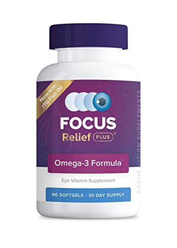 Focus Relief Plus Dry Eye Formula (90 ct. 30 Day Supply) Dry Eye Omega 3 Supplement - Dry Eye Relief Supplement -Omega 3 Fish Oil for Dry Eye