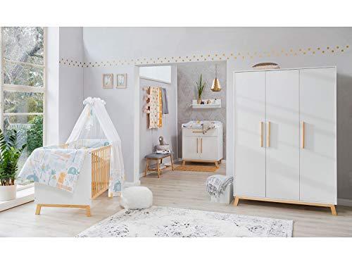 Babyzimmer Venice in Weiß und Buche Teilmassiv von SCHARTD 6 teiliges Megaset mit Schrank, Bett mit Lattenrost und Umbauseiten, Wickelkommode inklusive Wickelaufsatz und Wandboard