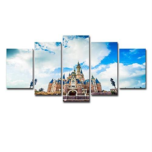 Swlyddm Leinwanddruck 5 Stück Gemälde – Spaßpark – Wandbilder auf Leinwand, moderne Wohnzimmer-Dekoration, fertig zum Aufhängen – GW-25172SA