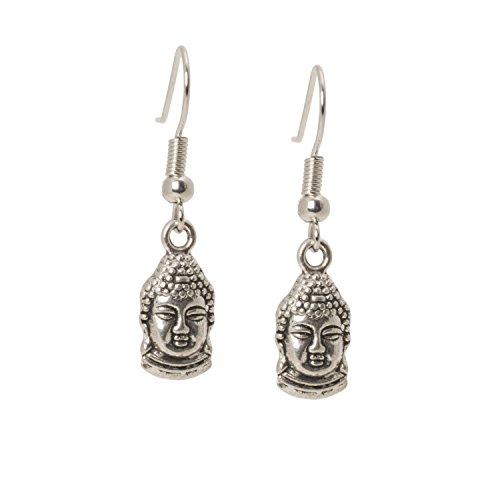 Geralin Gioielli Damen Ohrringe Silber Buddha Ohrhänger Yin Yang Yoga Tibet Buddhistische Gebets Perlen