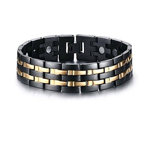 USUASI Pulsera magnética de acero de titanio negro y dorado para hombre a amigos SBRM-086
