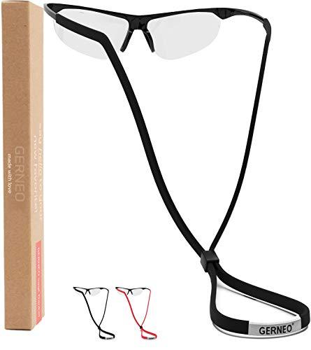GERNEO® - DAS ORIGINAL - Premium Brillenband & Sportbrillenband - extrem zuverlässiges Brillenband für Sportbrillen, Sonnenbrillen, Lesebrillen – Wasserfest (1 x Tiefschwarz & 1x Tornadorot)