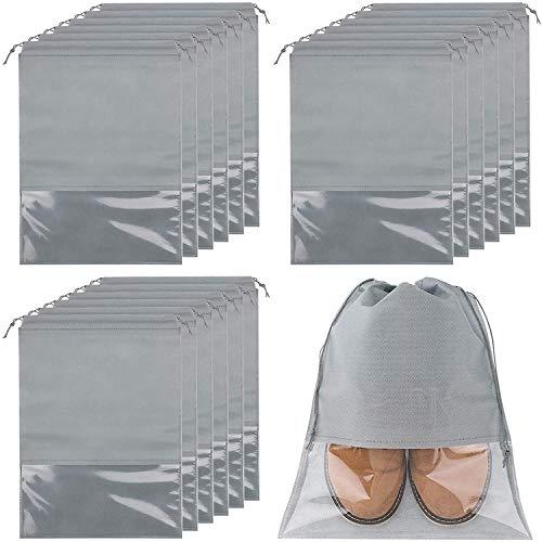 Yzbtj 18 Bolsas De Viaje para Zapatos, Grandes Bolsas De Tela No Tejida con Cordón con Ventana Transparente Organizador De Almacenamiento De Zapatos Grande para Uso Diario Y De Viaje (Gris)