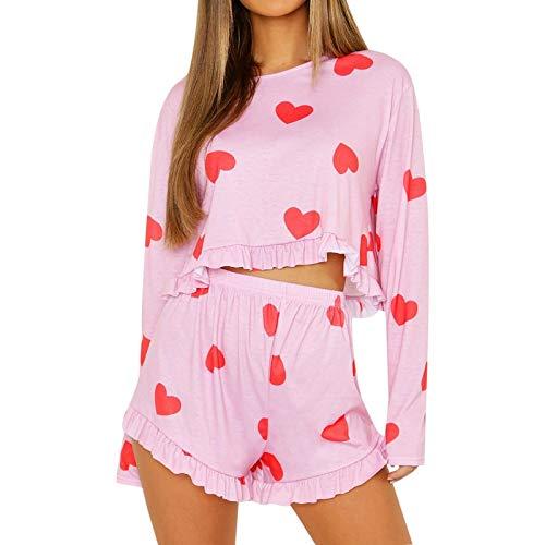 Damen Schlafanzug Pyjama,Rotes Herz Print O-Ausschnitt Pjs Sleepwear Set Langarm Top Kurze Hose Rüschen Satik Taille Loungewear Nachtwäsche Weiche Jogging Homewear Für Erwachsene Damen Outfits Anz