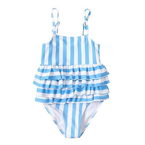 upxiang Costume da Bagno Bambina Neonata Costume Intero Bagnarsi Beachwear Striscia Senza Manica Spiaggia Mare Piscina Costume Estivo Bambina