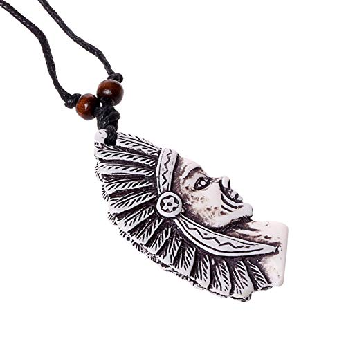 FJKWLC Car Rear View Mirror Pendant Vintage Indian Head Necklace Minority Pendant