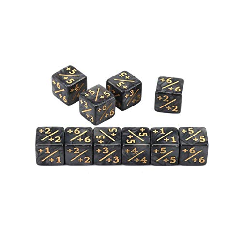 LouiseEvel215 10x Würfelzähler 5 Positiv + 1 / + 1 Für Magic The Gathering Table Spiel Lustige Würfel Hohe Qualität